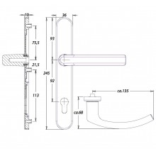 Inbraakwerend krukgarnituur F1 PC92 zonder kerntrekbeveiliging - Kronos Dieckmann