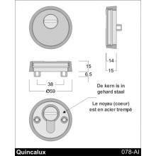 Veiligheidsrozette Messing antiek 078-AI-26-02 Quincalux