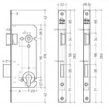 Litto A2658 insteekslot met rechthoekige voorplaat