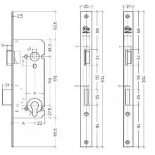 Litto A2609 insteekslot met rechthoekige voorplaat